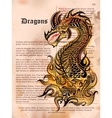 Furious Dragon drawing on old vintage book page vector image