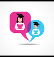 Girl and boy for reading book in message bubble vector image vector image