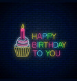 glowing neon sign happy birthday card with vector image