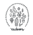 Hand drawn cactus set Cactus - lettering vector image