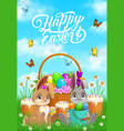 happy easter rabbits or bunny greeting card vector image
