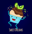 happy kiwi cupcake with choco splashes - bakery vector image