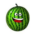 Happy refreshing green cartoon watermelon vector image