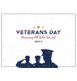 happy veterans day greeting card with soldier on vector image vector image