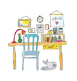 Home workplace for designer sketch - interior hand vector image vector image