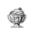 ice cream served in glass bowl vector image vector image