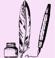 inkwell feather pen vector image