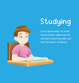 kid doing homework or sitting on school lesson vector image vector image