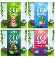 lets go egg hunting set posters with easter icons vector image