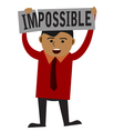Man making word impossible into possible vector image vector image