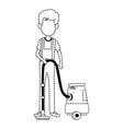man with vacuum avatar vector image