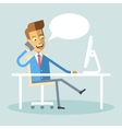 Manager sitting legs crossed at desk talking phone vector image vector image