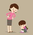 mother scolding sad children girl vector image vector image