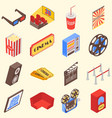 movie theater accessories and gadgets in isometric vector image