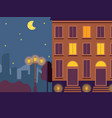 night town street light in house windows vector image
