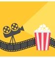 popcorn film strip border cinema projector vector image vector image