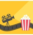 Popcorn Film strip border Cinema projector with vector image vector image