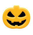 pumpkin with angry face isolated on white 3d vector image vector image