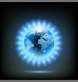 round blue flame of butane with planet earth vector image vector image