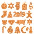 set christmas gingerbread cookies figures vector image vector image