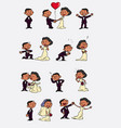set of chic and romantic black characters bride vector image vector image