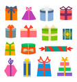 set of different gift boxes flat design vector image vector image