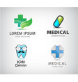 Set of medical logos pill icon blue cross