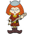 Severe viking kid girl vector image
