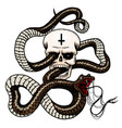 snake with a skull in vintage style serpent cobra vector image vector image