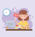 stress at work worried female employee with help vector image