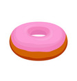 Tasty pink glaze donut cartoon flat style