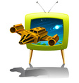 Television screen with spaceship flying in the vector image vector image