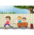 Three boys playing near the wooden wall vector image vector image