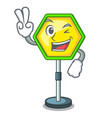 two finger cartoon traffic sign on traffic road vector image