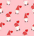 valentines day seamless pattern with cute gnomes vector image vector image