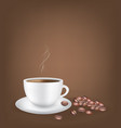 white coffee cup with coffee beans dark background vector image