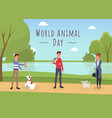 world animal day banner template female vector image vector image