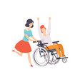 young woman running and pushing wheelchair with vector image vector image