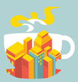 city buildings inside the cup of coffee vector image