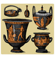 ancient greece antique amphora set vase vector image