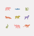 animals floral graphic silhouettes color vector image vector image