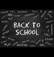 back to school chalk lettering on chalk board vector image