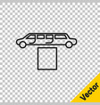 black line luxury limousine car and carpet icon vector image vector image