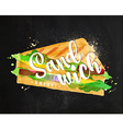 Burger sandwich chalk vector image vector image