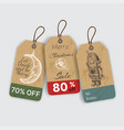 christmas gift tags with hand drawing elements vector image vector image