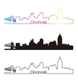 Cincinnati skyline linear style with rainbow vector image vector image