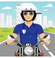 confident policemanriding motorcycle through city vector image vector image