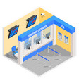 currency exchange office in isometric style design vector image