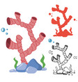 doodle silhouette and bright corals set vector image vector image