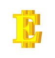 e letter bitcoin font cryptocurrency alphabet vector image vector image